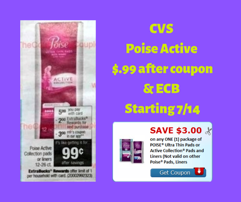 graphic about Printable Coupon for Poise Pads called CVS - Poise Hectic Pads $.99 Once coupon and gains starts off