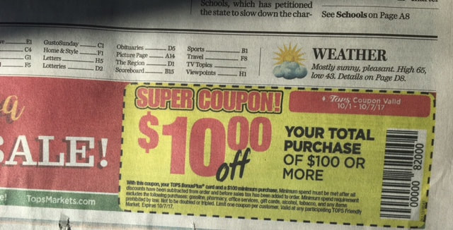 Tops Markets 10 Off 100 Coupon Buffalo News 10 1 Newspaper Is Now