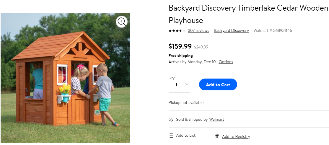 Walmart Clearance Backyard Discovery Cedar Wooden Playhouse 15999