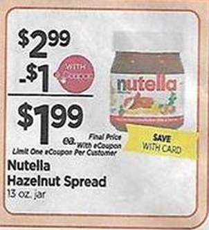 graphic relating to Nutella Printable Coupon called Tops Marketplaces Ranking Nutella for accurately $.49 !!!!! Upgrade At the moment A