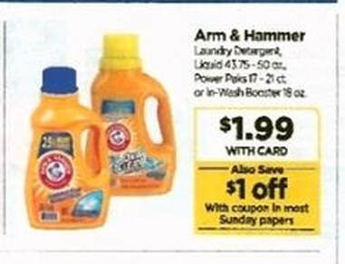 photograph relating to Arm and Hammer Printable Coupons titled Ceremony Assistance - $.99 Arm Hammer Laundry With Printable Discount coupons