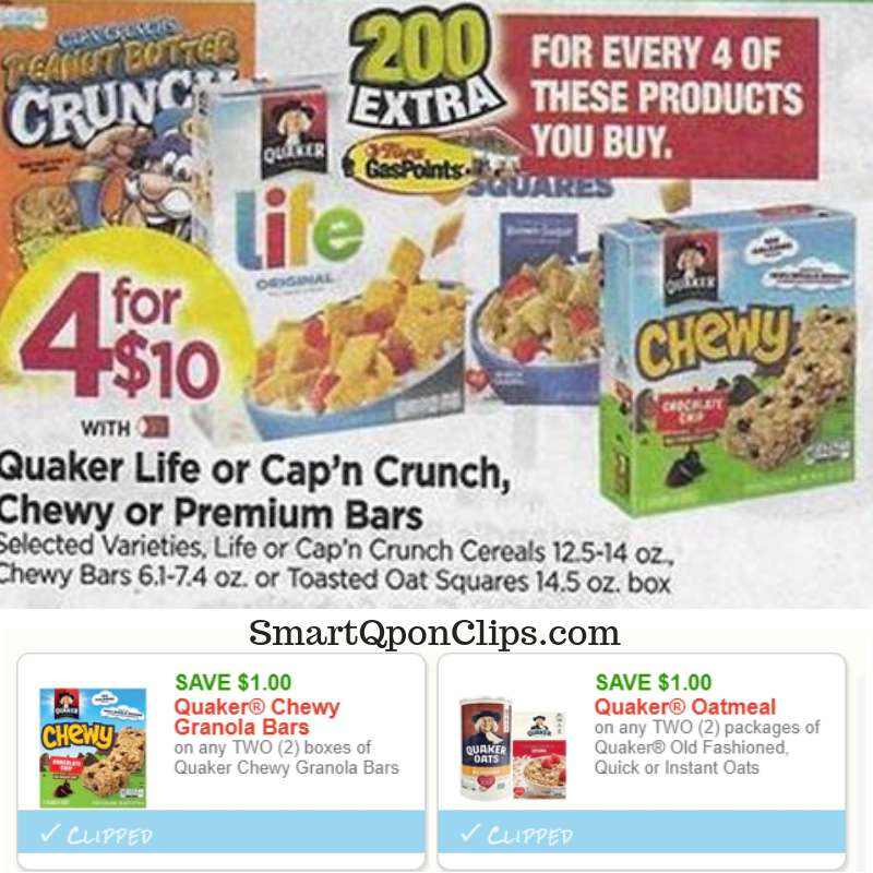 image relating to Quaker Printable Coupons identified as Contemporary Quaker Printable Discount coupons + Fuel Box Addition at Tops
