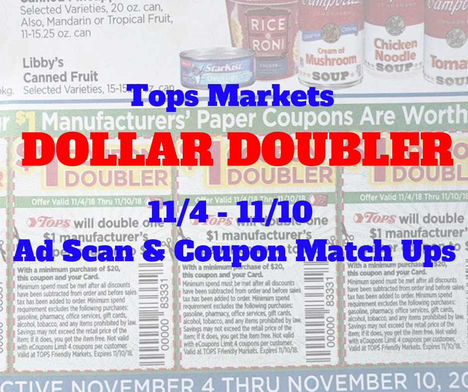 57d053b78b Tops Markets 11/4- 11/10 Ad Scan And Coupon Match Ups !!!