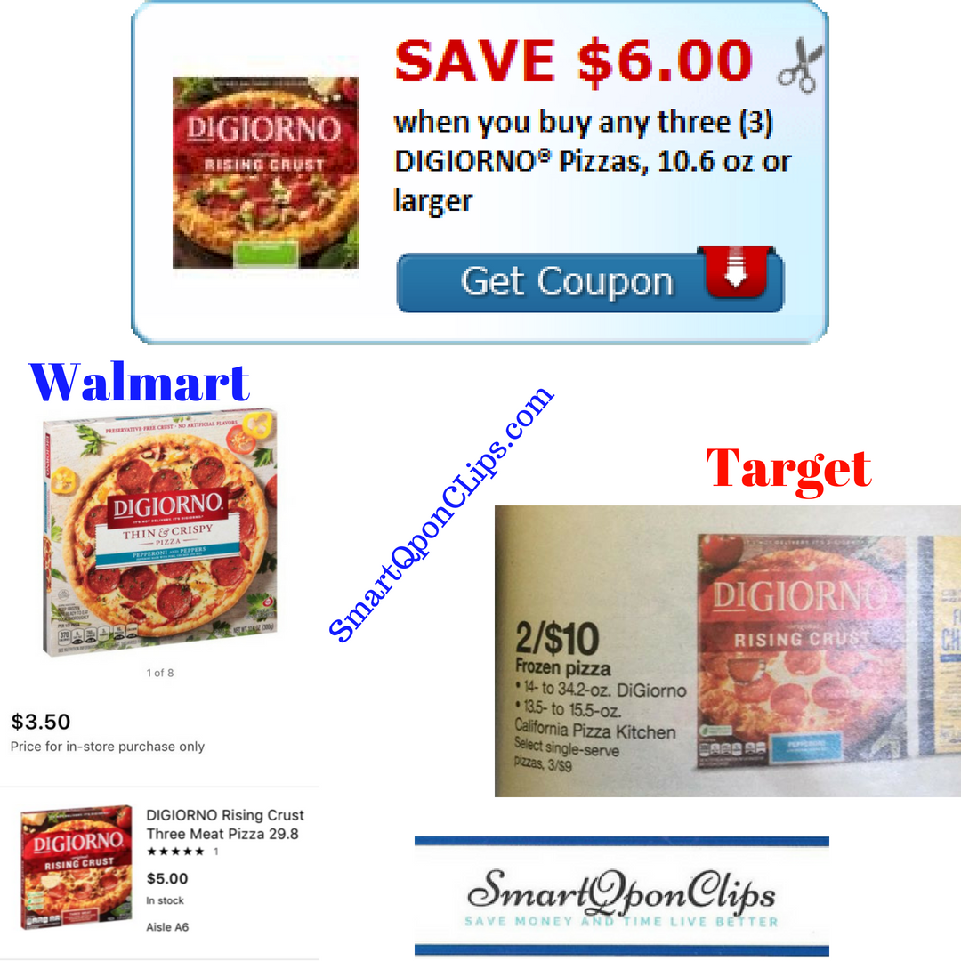 graphic relating to Digiorno Printable Coupon identified as Digiorno Printable Coupon $6 off 3 + Bargains at Walmart +